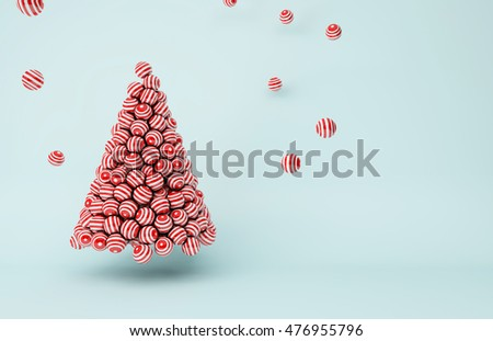 3D illustration - Red stripes balls Christmas tree