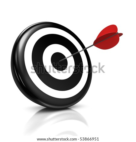 3d illustration/render of a black target with a red arrow stuck right in the center - success concept - stock photo
