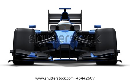 3d illustration/rendering of a blue race car isolated on white - my own car design - stock photo