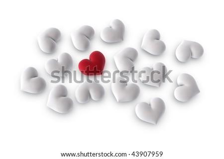 3d illustration/rendering of  one velvety red heart among several white hearts - stock photo