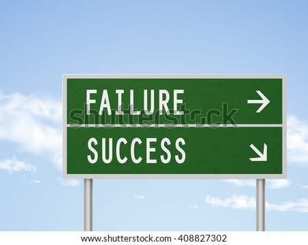 3d illustration road sign with failure and success isolated on blue sky