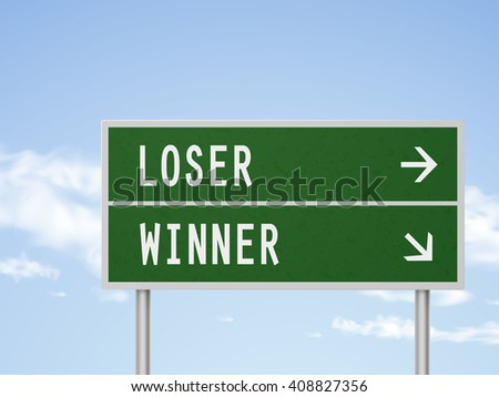 3d illustration road sign with loser and winner isolated on blue sky