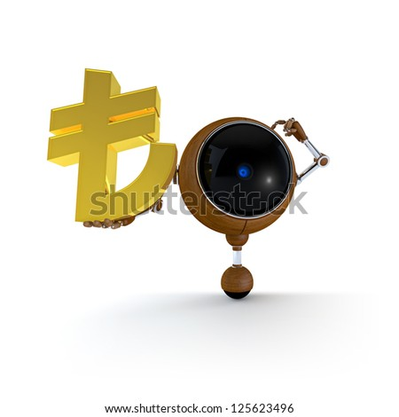 3D Illustration Robot Hold Money Sign in Hand. Turkish Lira Sign. Isolated on Background - stock photo