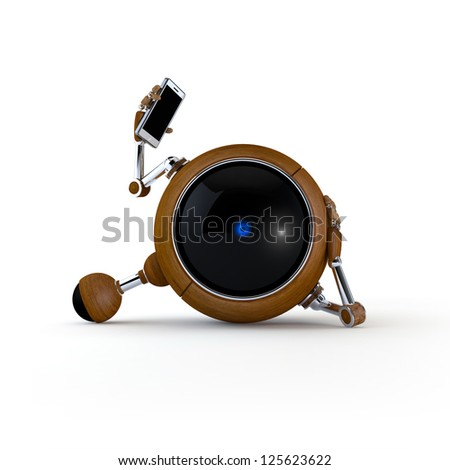 3D Illustration Robot Talking on the Phone Isolated on Background - stock photo