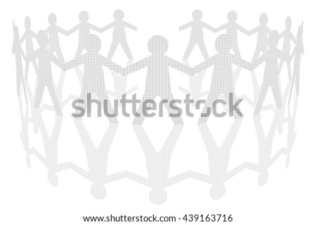 3D illustration. Round dance. Paper children there holding hands. - stock photo