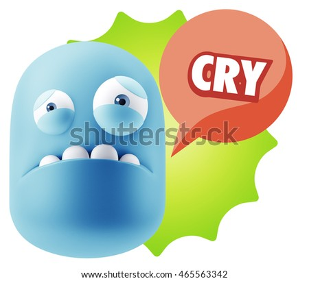 3d Illustration Sad Character Emoji Expression saying Cry with Colorful Speech Bubble.
