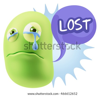 3d Illustration Sad Character Emoji Expression saying Lost with Colorful Speech Bubble.