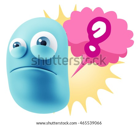 3d Illustration Sad Character Emoji Expression saying Question Mark with Colorful Speech Bubble.