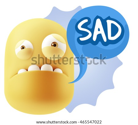 3d Illustration Sad Character Emoji Expression saying Sad with Colorful Speech Bubble.