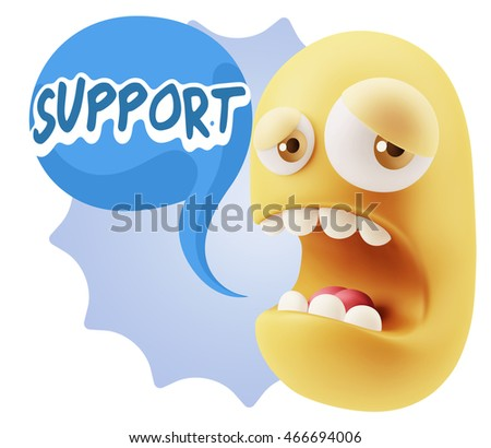 3d Illustration Sad Character Emoji Expression saying Support with Colorful Speech Bubble.