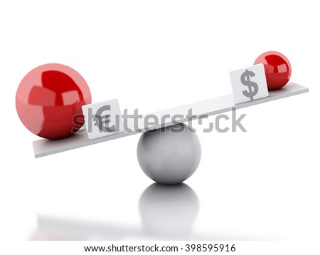 3D Illustration. Seesaw balance between euro and dollar. Business concept. Isolated white background. - stock photo