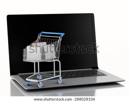 3d illustration. Shopping cart with bags on Laptop. Online shopping concept. - stock photo