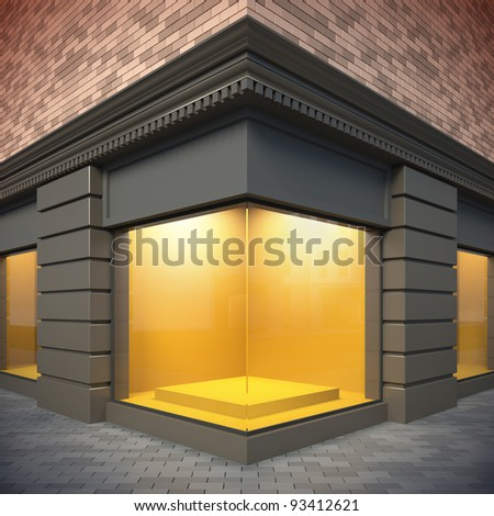3D illustration showcase in classical style. Day view. - stock photo
