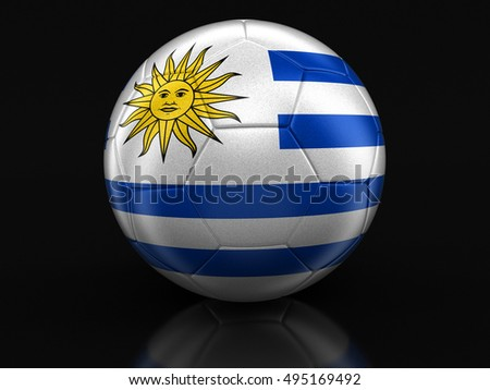 3D Illustration. Soccer football with Uruguayan flag. Image with clipping path
