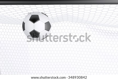3d illustration. Socces Goal and ball. Sports concept. Isolated white background