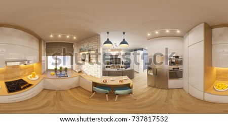 3d illustration spherical 360 degrees, seamless panorama of living room interior  design. Modern studio