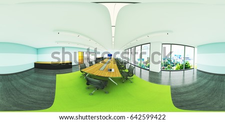 3d Illustration Spherical 360 Vr Degrees A Seamless Panorama Of The Office Meeting Room And