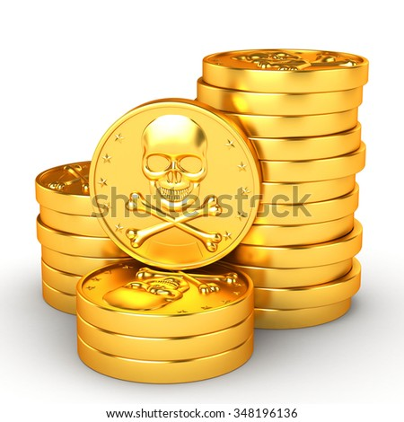 3d illustration. Stack pirate money on a white background. Coins with skull and crossbones. - stock photo