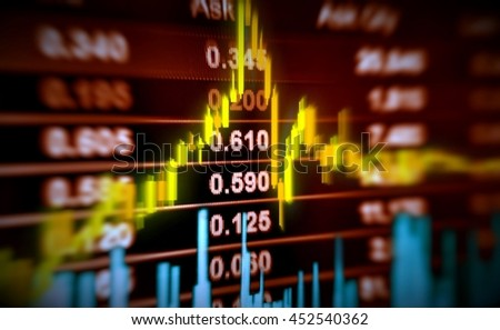 3D illustration stock price and chart movement - stock photo