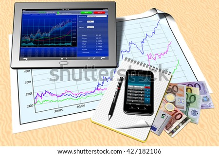 3D illustration. Tablet, Smart phone and various elements that attract banking, trading, investment and finance. Put in your home or office..  - stock photo