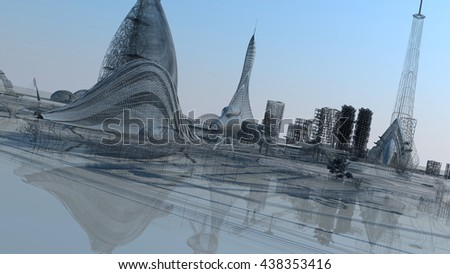 3D illustration. The city of the future - stock photo