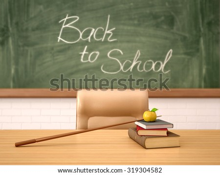 3d illustration. The desk of teacher in the background of the boards with inscription back to school. - stock photo