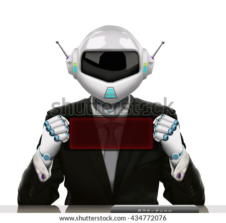 3D illustration - The robot businessman hold a small electronic banner and transparent red