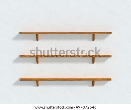 3D illustration - The white wall and three wooden shelves.