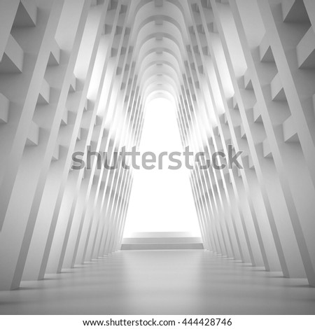 3d illustration. Three-dimensional composition based on an abstract white symmetric interior. Extruded shapes in perspective and skylight. Sacred Geometry. - stock photo