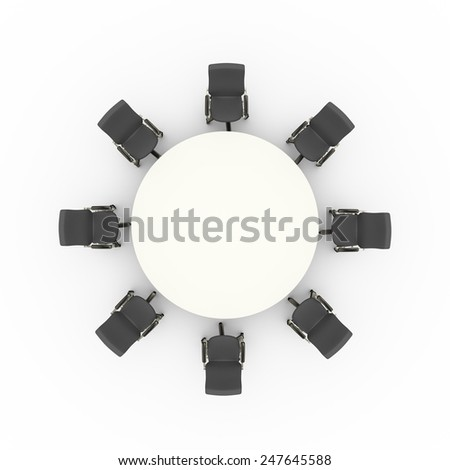 3d illustration top view of office chairs and business conference meeting round table u8 and