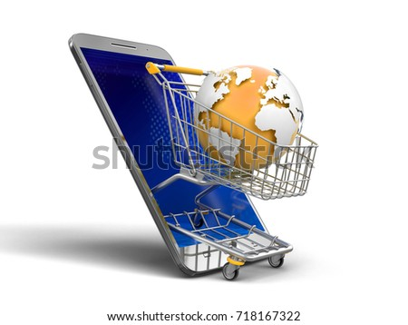3d illustration. Touchscreen smartphone and Shopping Basket with globe. Image with clipping path. Elements of this image furnished by NASA