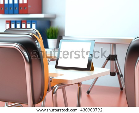 3D Illustration training center with blank tablet. Business workshop. Mockup