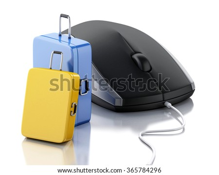 3d illustration. Travel suitcase and computer mouse. Online booking or travel concept. Isolated white background - stock photo