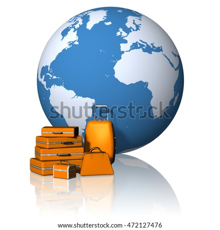 3D illustration. Travel. Suitcases with the background over the world.