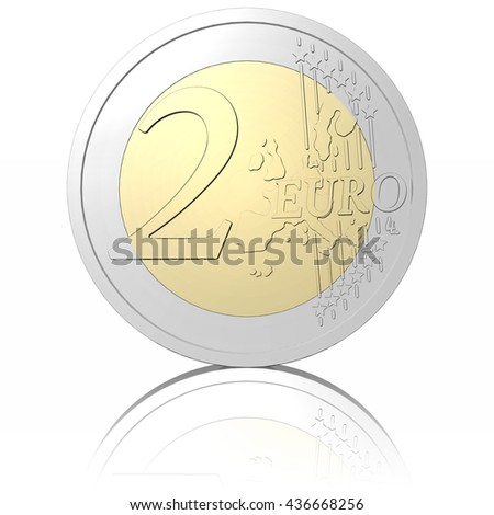 3D illustration. Two Euro coin, isolated on white background. - stock photo