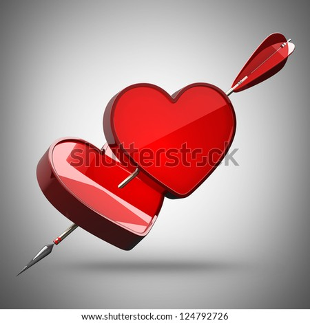 3d illustration. Two hearts pierced by an arrow high resolution - stock photo