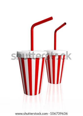 3d illustration: Two paper striped glasses with tubules for drink - stock photo