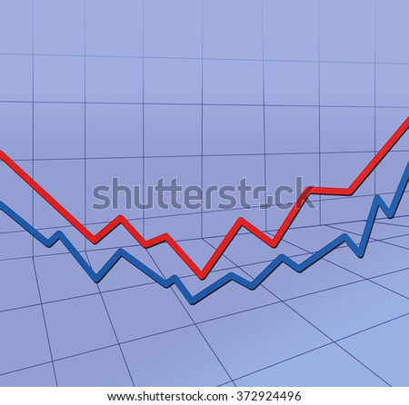 3D illustration. Up and down - red and blue arrows, grid, graph