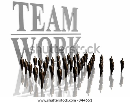 3D illustration, wallpaper, background.  Businessmen in front of a team work sign. Economy and work floor concept. Room for copy space. Over white.