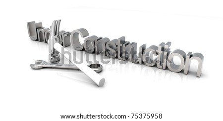 3D Illustration. Website is under construction. Isolated on white. - stock photo