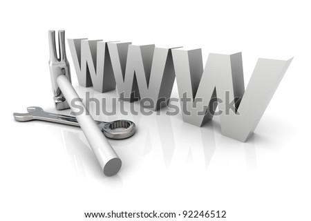 3D Illustration. Website is under construction. Isolated on white.