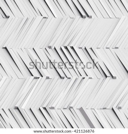 3d illustration, white abstract geometric background, block texture - stock photo
