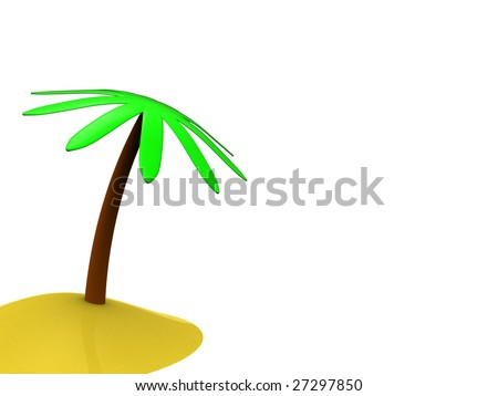 3d illustration, white background with palm tree on left side