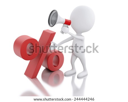 3d illustration. White man sale announcement with megaphone. discount concept on white background