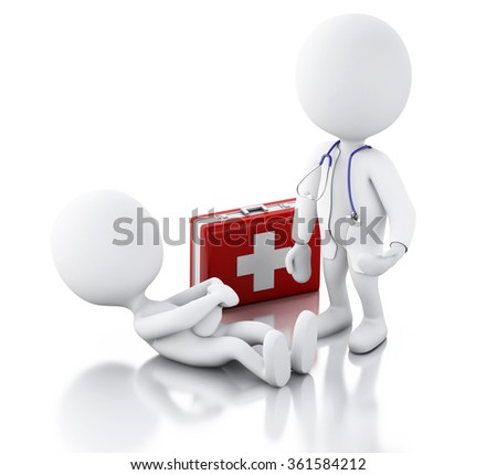 3d illustration. White people doctor with stethoscope checking people with stomach ache. Isolated white background - stock photo