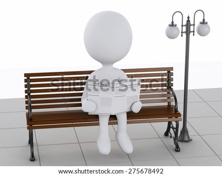 3d illustration. White people reading a newspaper on a wooden bench. Isolated white background - stock photo
