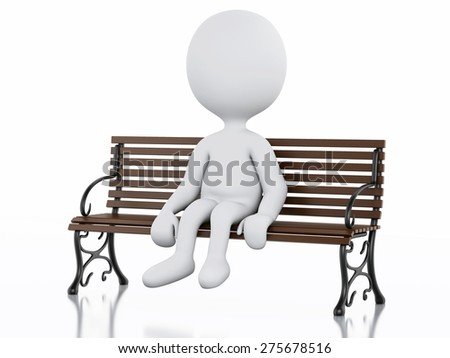 3d illustration. White people sitting on the bench. Isolated white background - stock photo