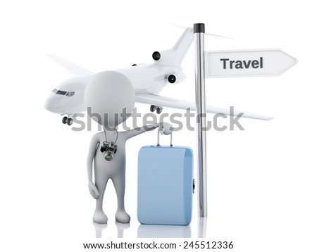 3d illustration. white people tourist with suitcases and the camera, travel concept. Isolated white background. - stock photo