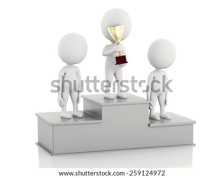 3d illustration. White people winner on sports podium with trophies. Isolated white background - stock photo