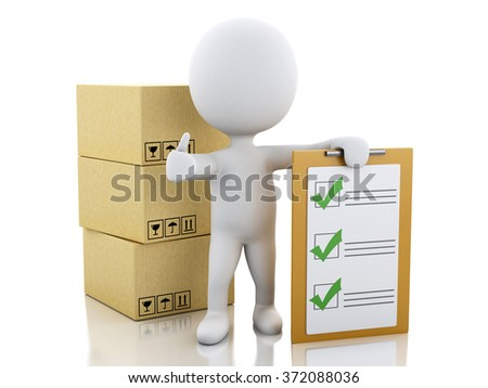 3d illustration. White people with clipboard checklist and cardboard boxes. Package delivery concept. Isolated white background